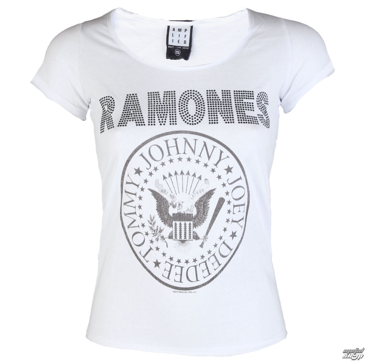 4d4ae189371e tričko dámské RAMONES - LOGO DIAMANTE - WHITE - AMPLIFIED