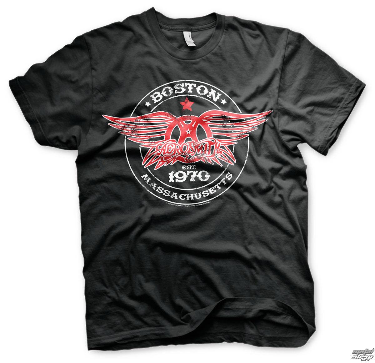 tričko pánské Aerosmith - Est. 1970, Boston - Black - HYBRIS