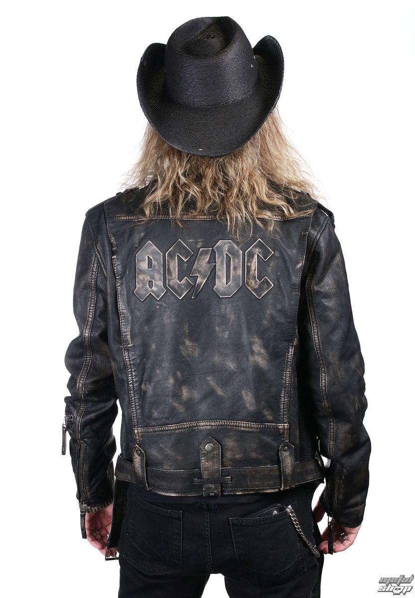 bunda pánská (křivák) AC/DC - LROV Black/Beige