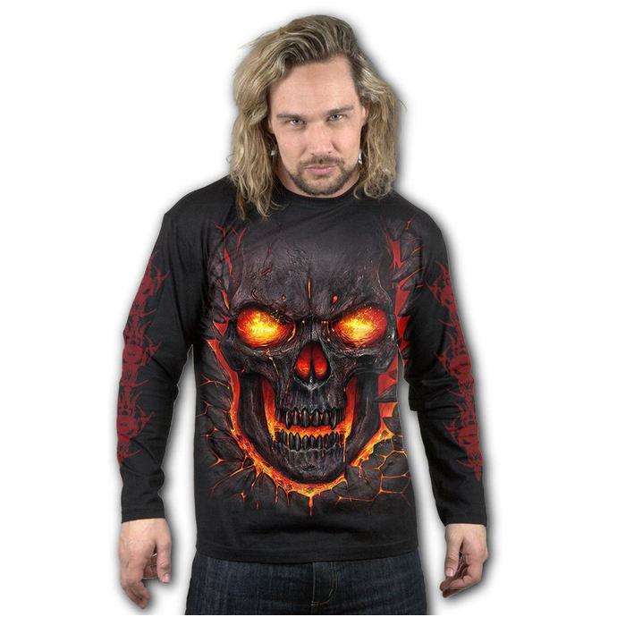 tričko pánské s dlouhým rukávem SPIRAL - SKULL LAVA