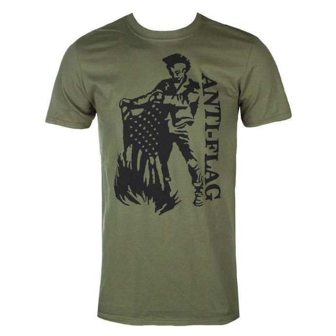 tričko pánské Anti Flag - Flag Burner Green - Military Green - KINGS ROAD