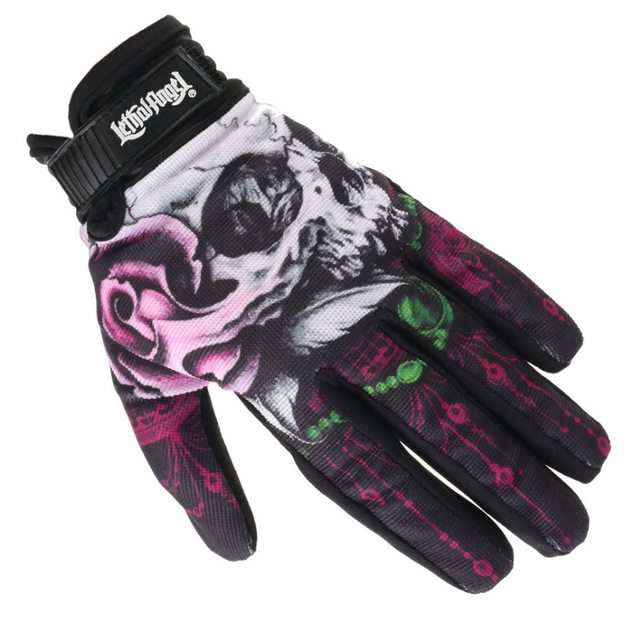 rukavice LETHAL THREAT - FLORAL SKULL