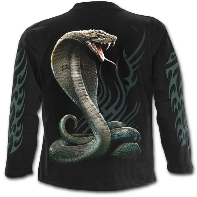 tričko pánské s dlouhým rukávem SPIRAL - SERPENT TATTOO - Black