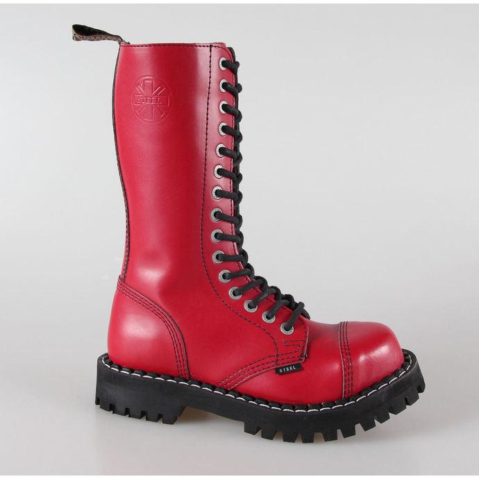 boty STEEL -15 dírkové červené pestré (135/136 Full Red)