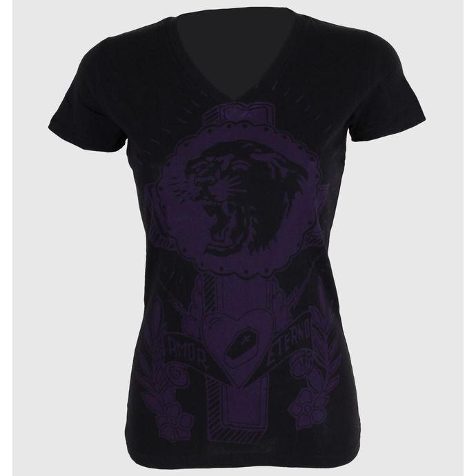 tričko dámské SOMETHING SACRED - Tiger Cross One color V-neck