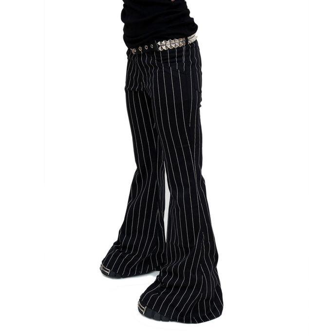 kalhoty dámské Mode Wichtig - Flares Pin Stripe Black-White