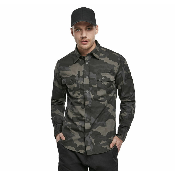 košile pánská BRANDIT - Men Shirt Slim Darkcamo