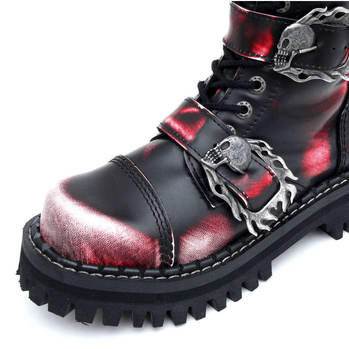 boty KMM 20dírkové - Big Skulls Black Red White Monster 5P