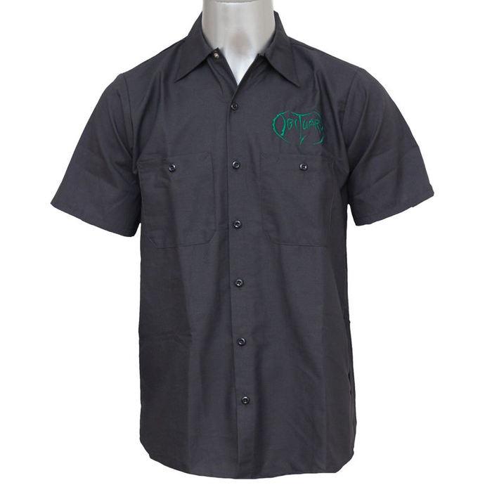 košile pánská Obituary - EMB Logo - Grn/Charcoal - JSR