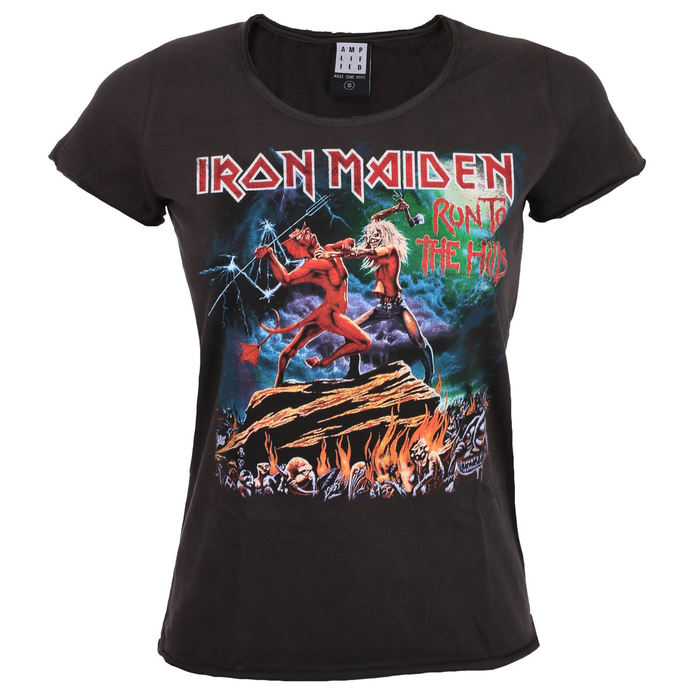 tričko dámské IRON MAIDEN - RUN TO THE HILLS - CHARCOAL - AMPLIFIED