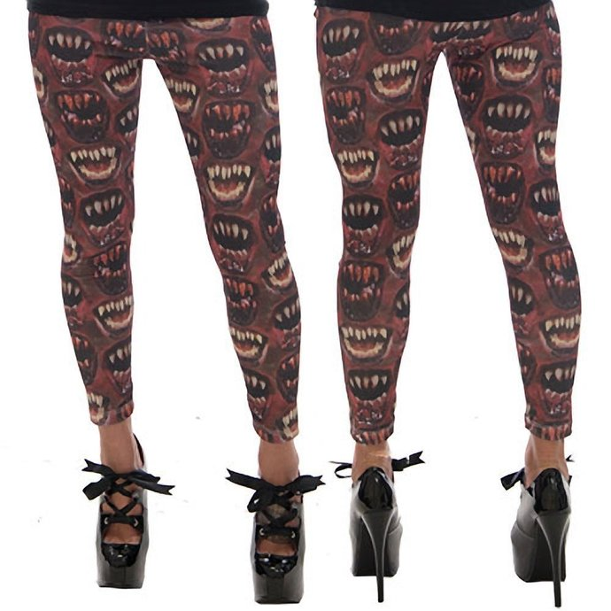 kalhoty dámské (leginy) KREEPSVILLE SIX SIX SIX - Monster Mouth - Red