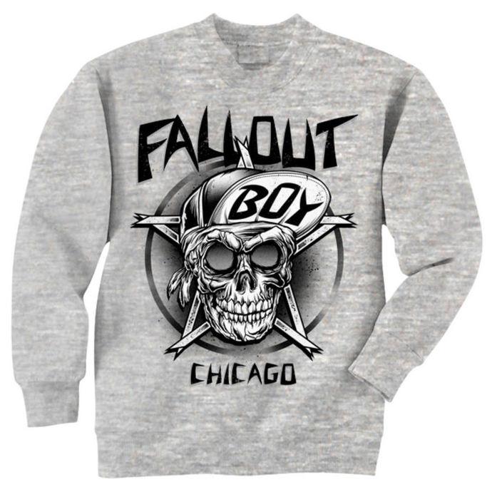 mikina pánská Fall Out Boy - Skull - Grey - LIVE NATION