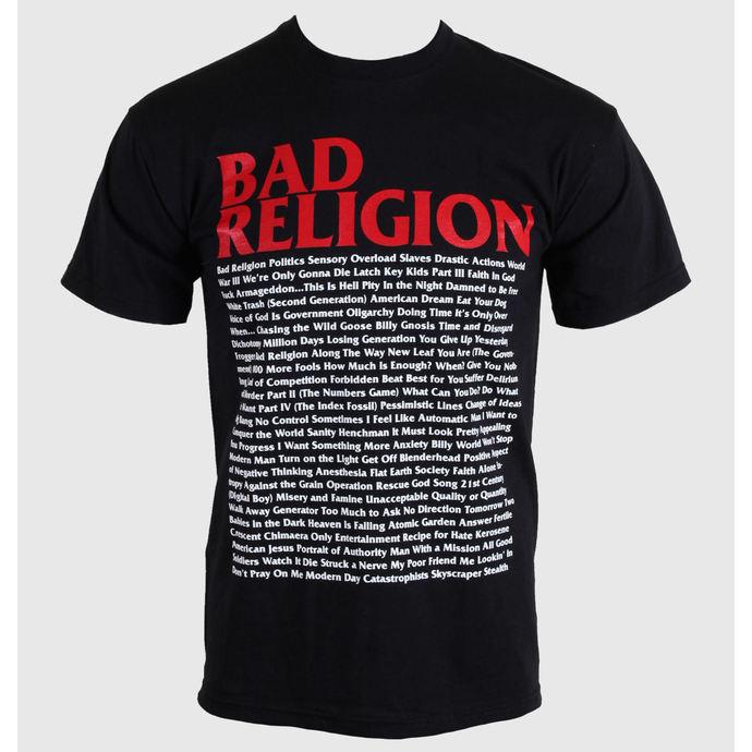 tričko pánské Bad Religion - Song List - Black - 00384