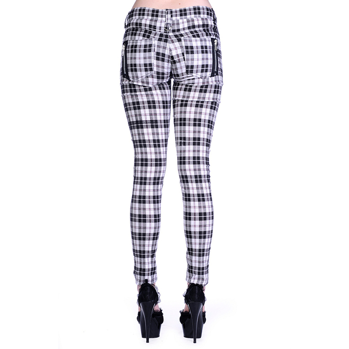 kalhoty dámské BANNED - Check Skinny - White