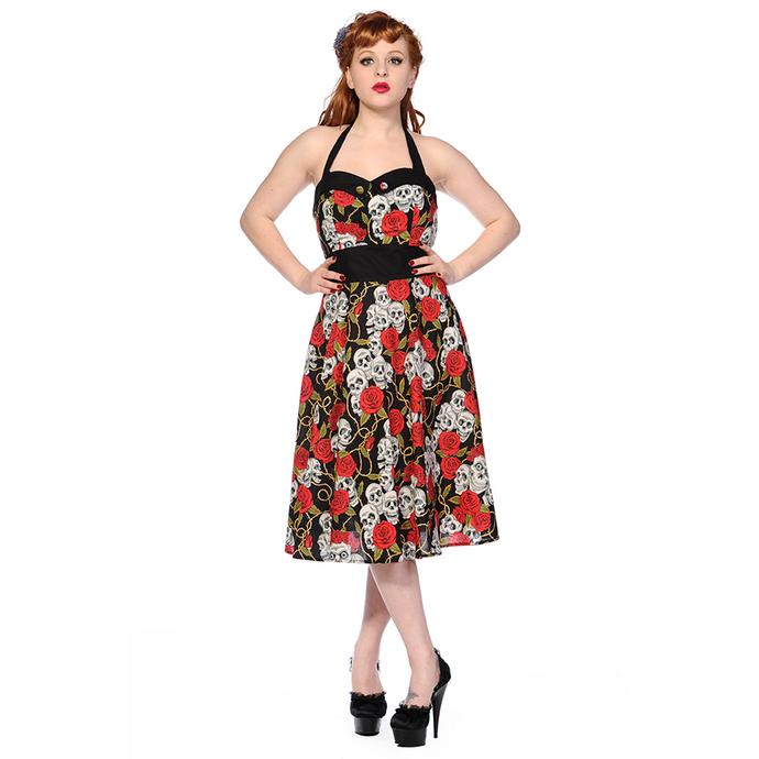 šaty dámské BANNED - Skull And Roses - Black/Red