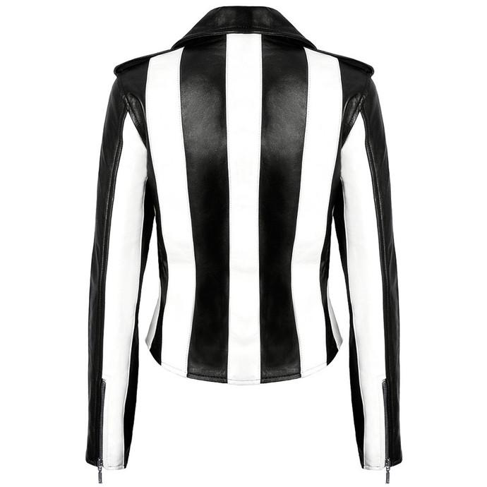bunda dámská (křivák) KILLSTAR - Beetlejuice - Black/White - VEGAN