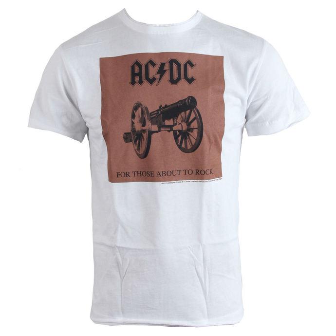 tričko pánské AC/DC - About To Rock - White - AMPLIFIED
