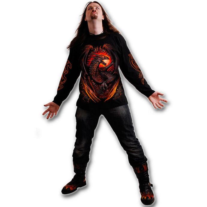 tričko pánské s dlouhým rukávem SPIRAL - Dragon Furnace - Black