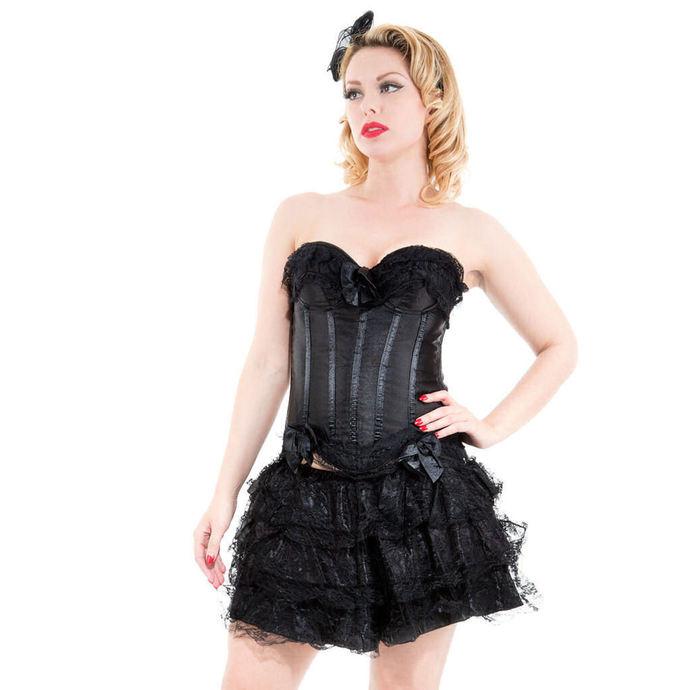 korzet a sukně dámská HEARTS AND ROSES - Black Corset With Skirt
