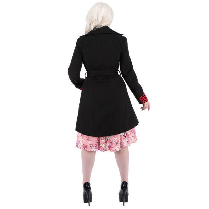 kabát dámský HEARTS AND ROSES - Black Red Flocking