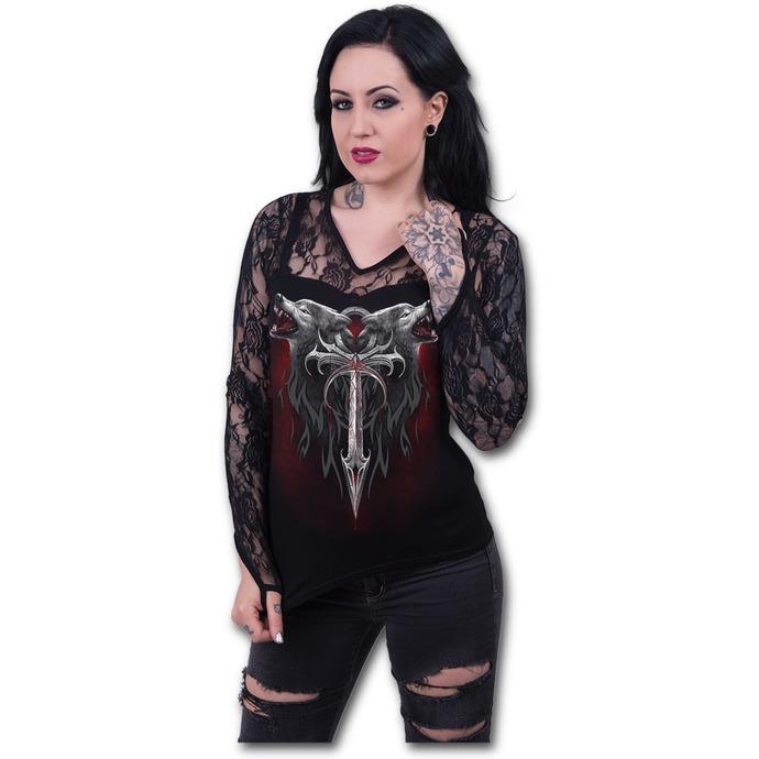 tričko dámské s dlouhým rukávem SPIRAL - Legend Of The Wolves - Black