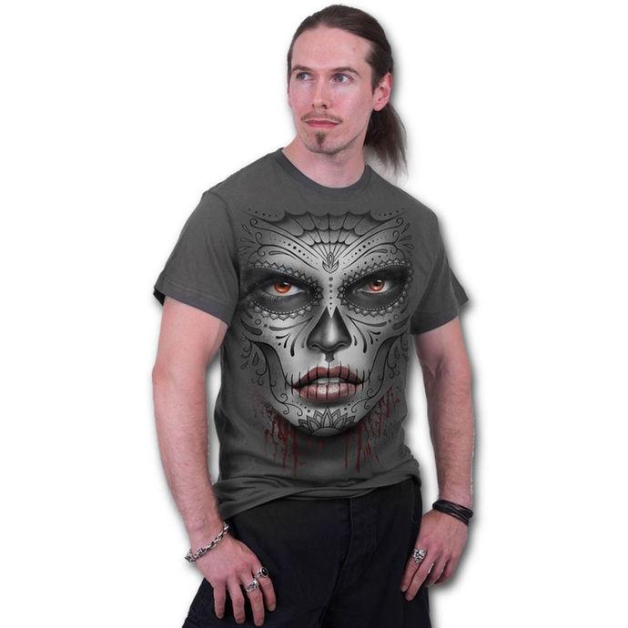 tričko pánské SPIRAL - Death Mask - Charcoal