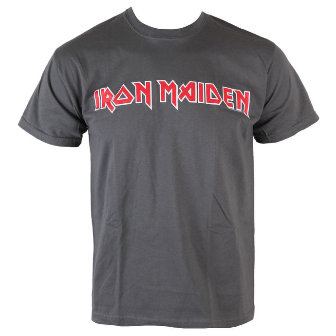 tričko pánské Iron Maiden - Classic Logo - Charcoal - ROCK OFF