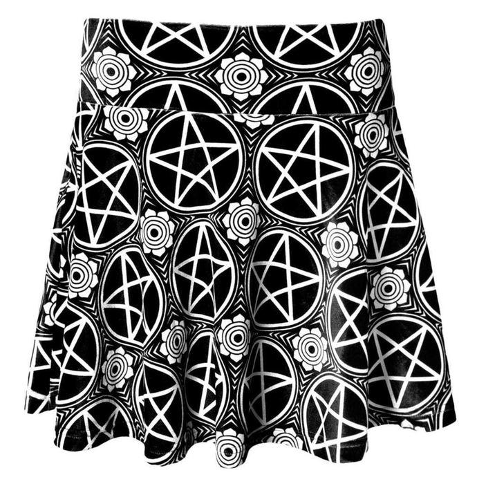 sukně dámská KILLSTAR - Pentagram Velvet - Black