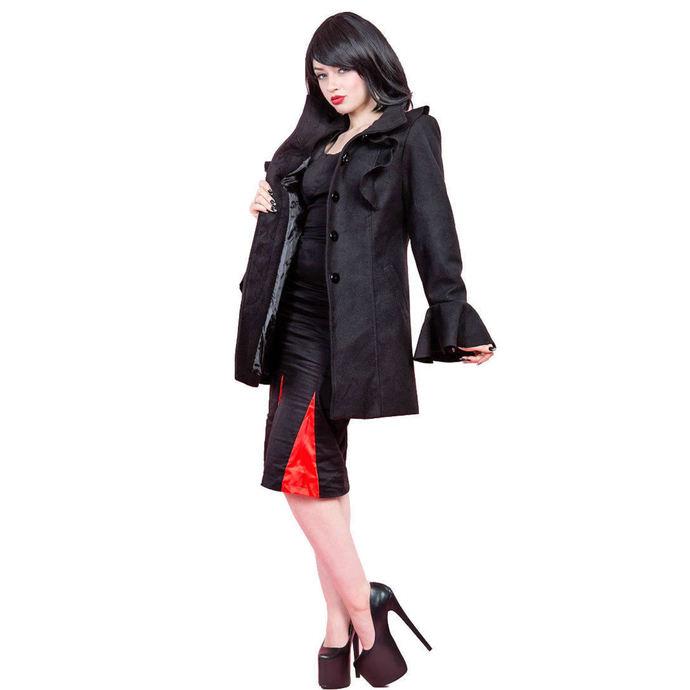 kabát dámský HEARTS AND ROSES - Ruffled Sleeve Wool