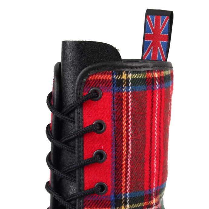 boty NEVERMIND - 10 dírkové - Black/Red Tartan