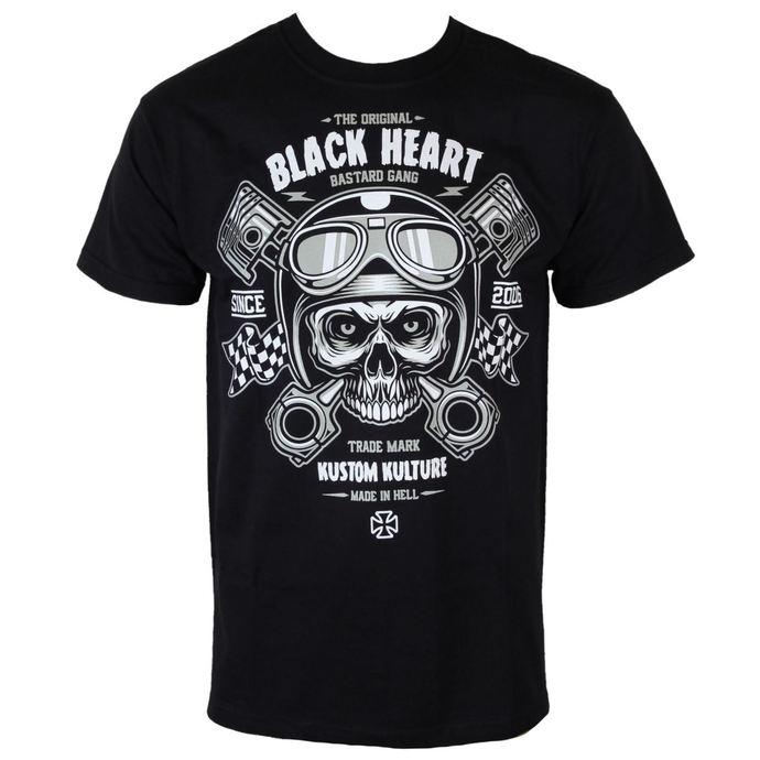 tričko pánské BLACK HEART - Piston Skull - BLK