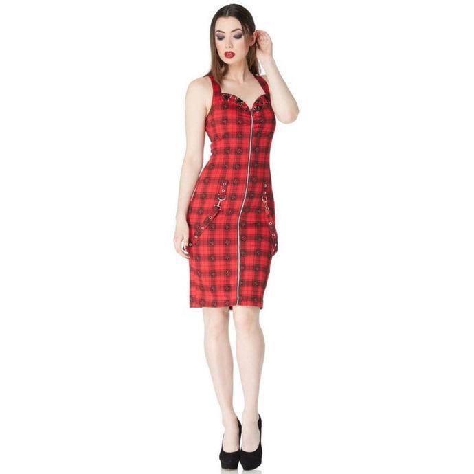 šaty dámské JAWBREAKER - Blk/Red Plaid Skulls
