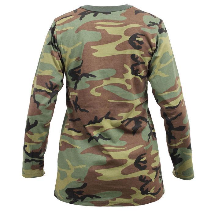 tričko dámské s dlouhým rukávem ROTHCO - WOODLAND CAMO
