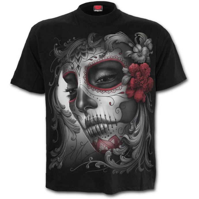 tričko unisex SPIRAL - SKULL ROSES - Black