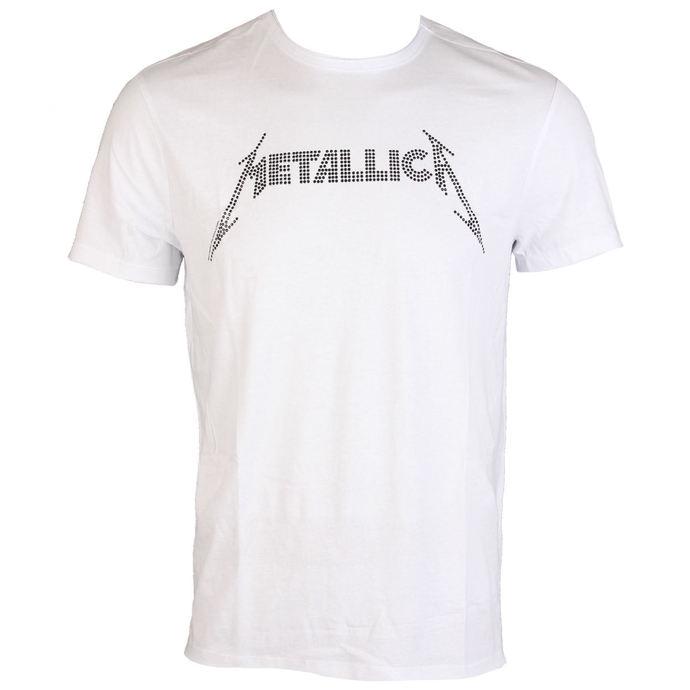 tričko pánské METALLICA - BLACK LOGO DIAMANTE - WHT - AMPLIFIED