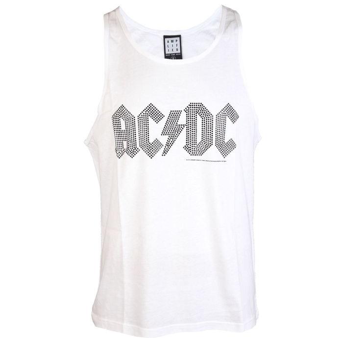 tílko pánské AC/DC - BLACK LOGO DIAMONTE WHITE - AMPLIFIED