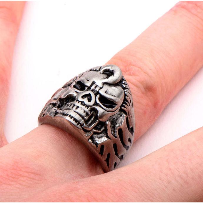 prsten INOX - BLK FLAME SKULL