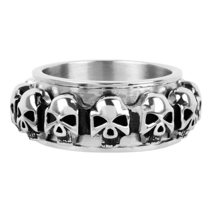 prsten INOX - skulls around