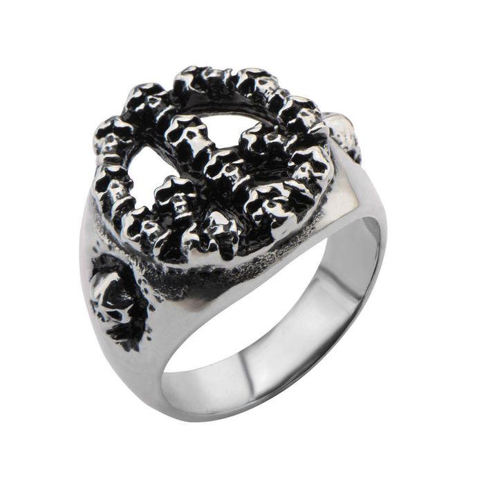 prsten INOX - PEACE SIGN SKULL BLK
