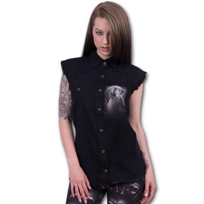 košile bez rukávů dámská SPIRAL - WOLF SOUL - Black