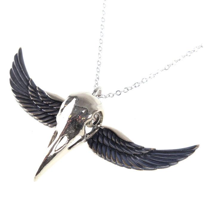 obojek ETNOX - Winged Crow Skull - Silver