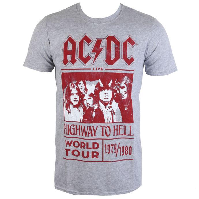 tričko pánské AC/DC - Highway To Hell World Tour 1979/80 - Grey - ROCK OFF