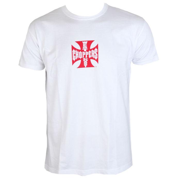 tričko pánské West Coast Choppers - WCC IRON CROSS - WHITE RED