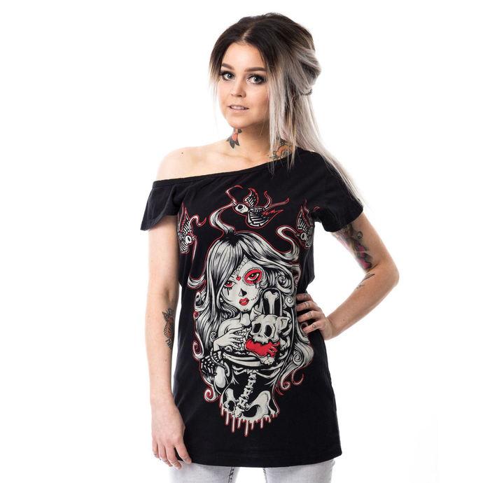 tričko dámské (tunika) Vixxsin - CAT MUERTE OFF SHOULDER - BLACK