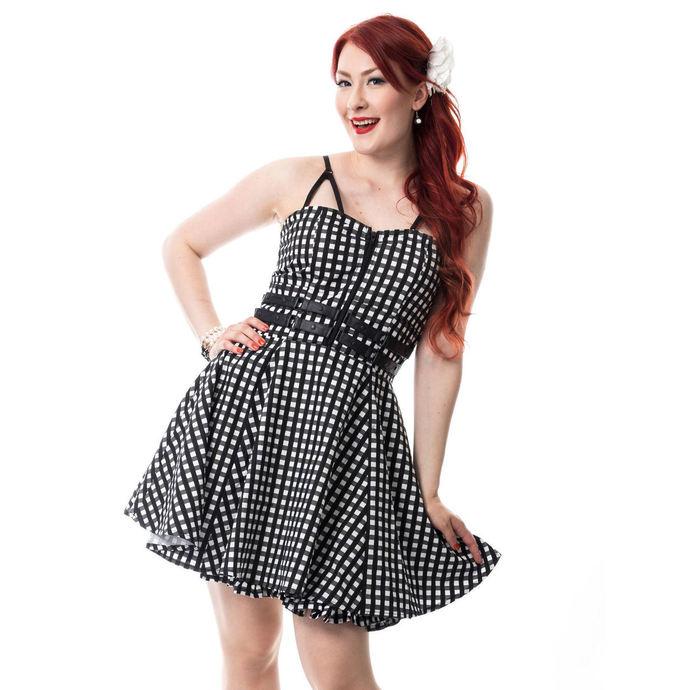 šaty dámské RockaBella - KEIRA - BLACK GINGHAM