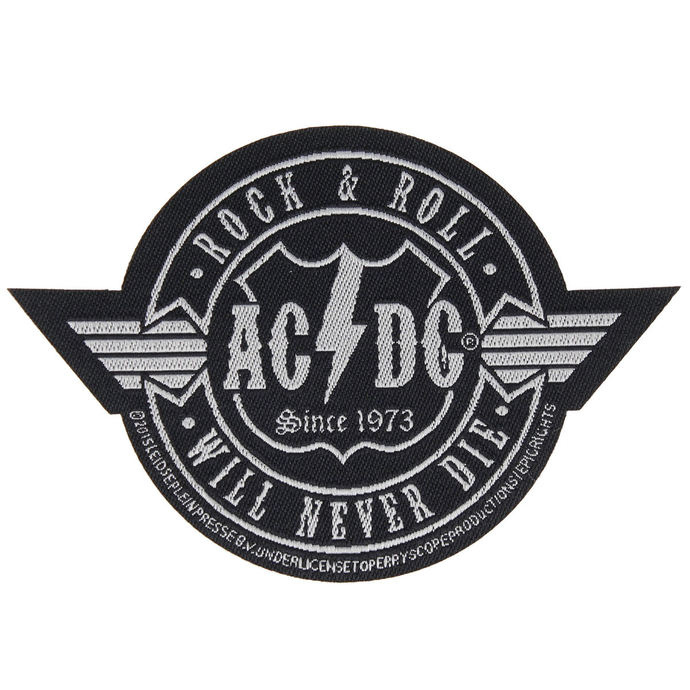 nášivka AC/DC - ROCK ´N´ ROLL WILL NEVER DIE CUT-OUT - RAZAMATAZ