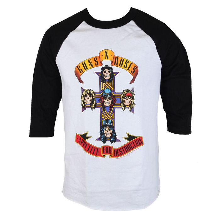 tričko pánské Guns N' Roses - AFD RAGLAN-WHITE/BLACK - BRAVADO