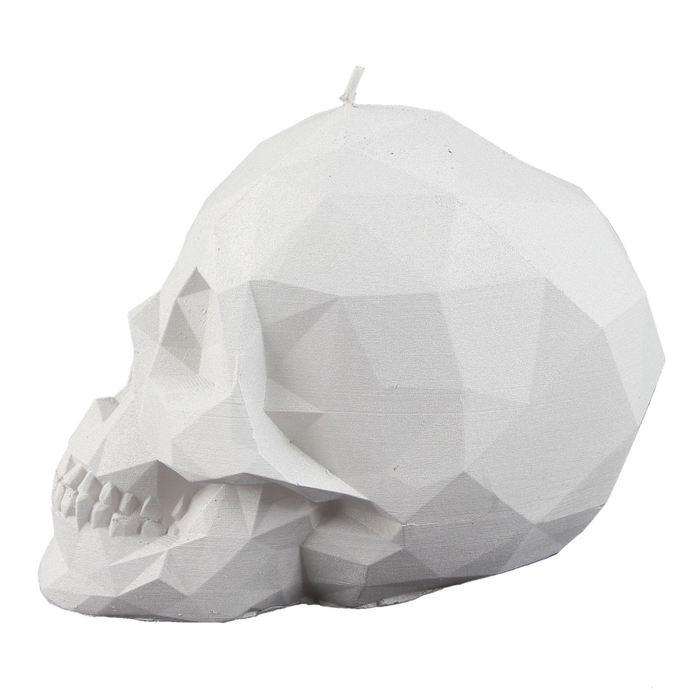 svíčka Skull - White