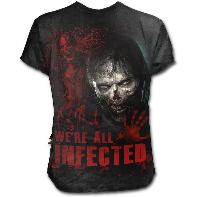 tričko pánské SPIRAL - ZOMBIE - ALL INFECTED - Walking Dead Ripped - Black