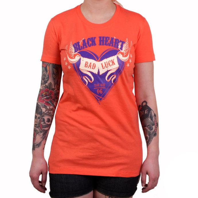 tričko dámské BLACK HEART - BAD LUCK - ORANGE